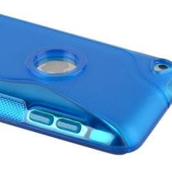 INSTEN Blue S Shape TPU Rubber Skin iPod Case Cover for Apple iPod Touch Generation 4