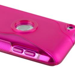 Hot Pink S Shape TPU Rubber Case for Apple iPod Touch Generation 4