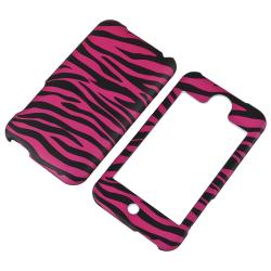 INSTEN Hot Pink Zebra Rubber Coated iPod Case Cover for Apple iPod Touch Generation 2/ 3 - Thumbnail 1