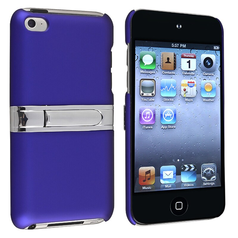 INSTEN Blue with Chrome Stand Snap-on iPod Case Cover for Apple iPod Touch Generation 4