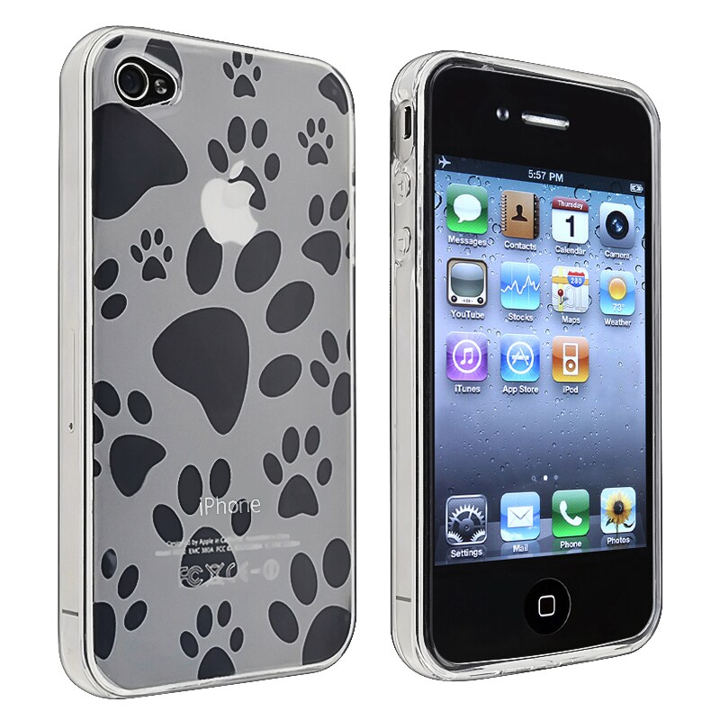INSTEN Clear Dog Paw Foot Print TPU Rubber Skin Phone Case Cover for Apple iPhone 4/ 4S