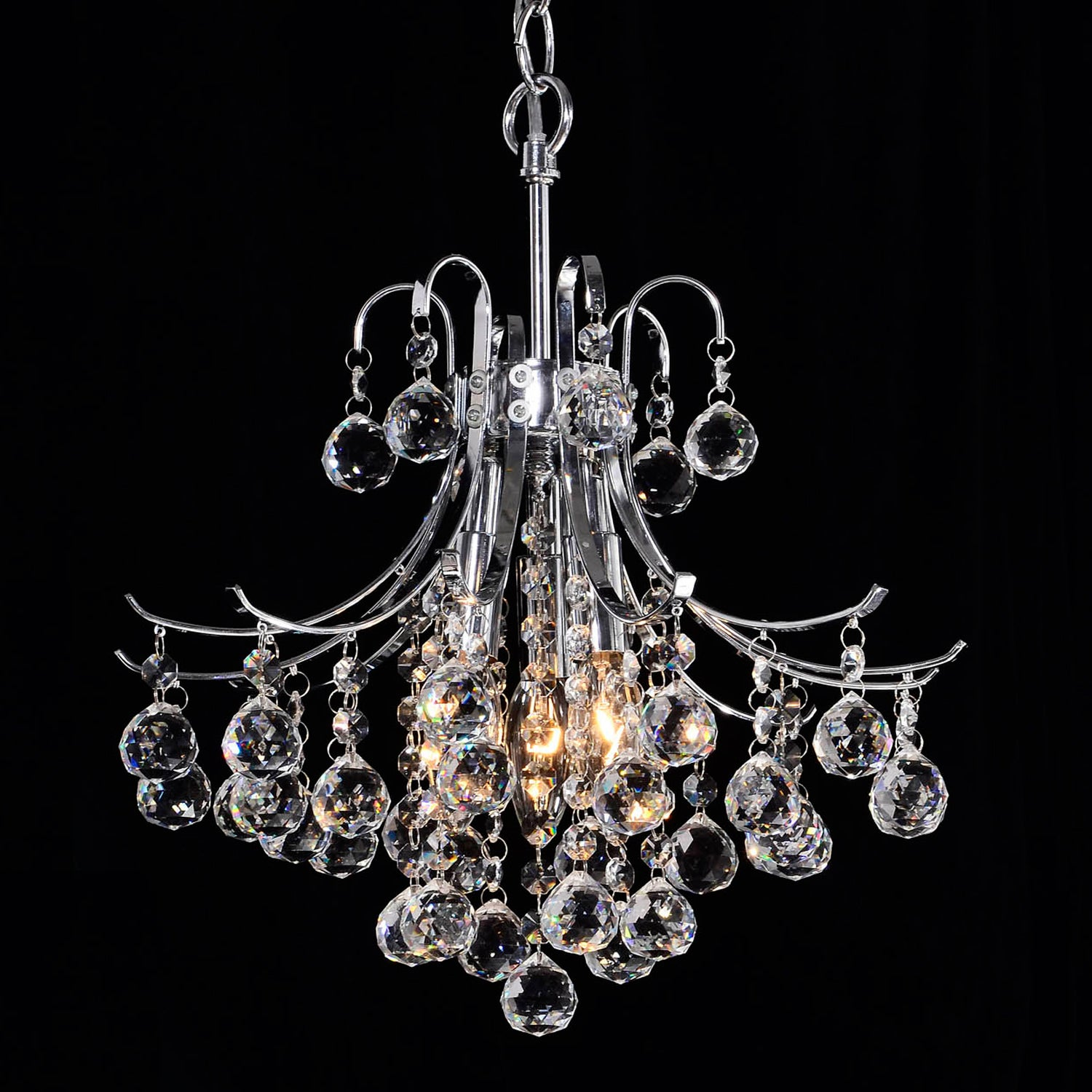 Namika 3-Light Crystal and Chrome Chandelier - Thumbnail 0