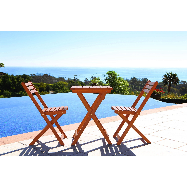 Vifah Premium Hardwood 3-piece Bistro Set (Outdoor Furnit...