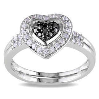 Miadora Sterling Silver 1/3ct TGW White Sapphire & Black Diamond Heart Ring
