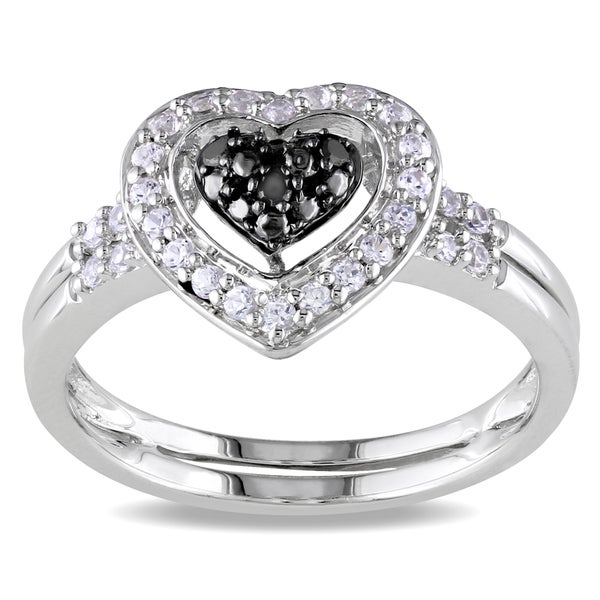 M by Miadora Sterling Silver 1/3ct TGW White Sapphire & Black Diamond Heart Ring