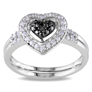 M by Miadora Sterling Silver 1/3ct TGW White Sapphire & Black Diamond Heart Ring