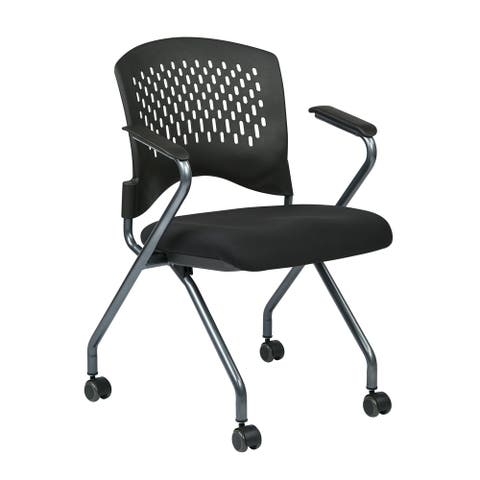 Deluxe Folding Chair with Ventilated Plastic Wrap Around Back 2-Pack