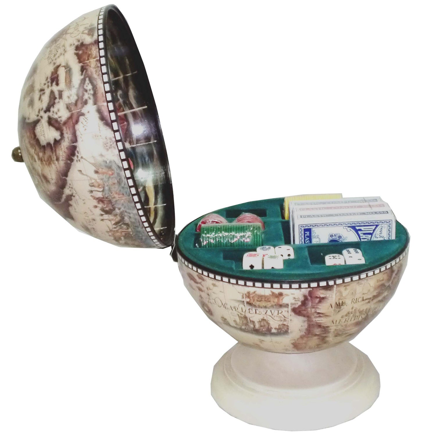 Gallery Playing Card, Dice and Poker Chip Storage Globe