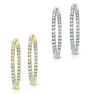 Auriya 14k Gold 2 Carat TW Medium Diamond Hoop Earrings 33 Mm 1 29 Inch