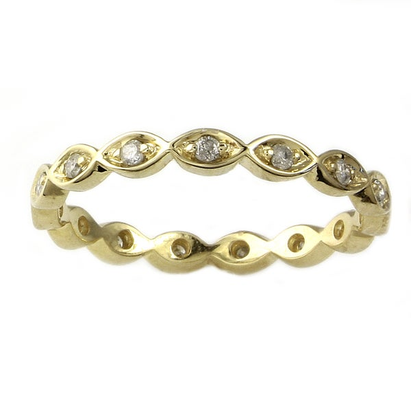 10k Yellow Gold 1/5ct TDW Diamond Eternity Stackable Band Ring