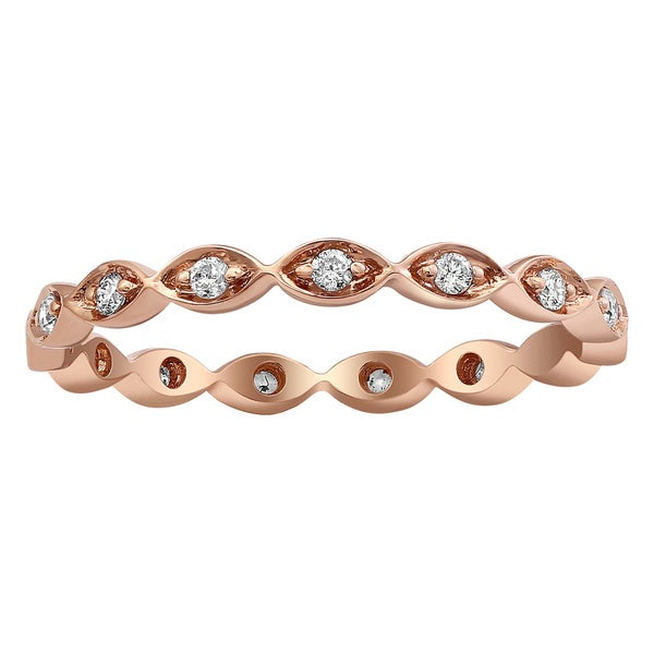 d7e7b010276 Shop 10k Rose Gold 1/5ct TDW Diamond Eternity Stackable Band Ring ...