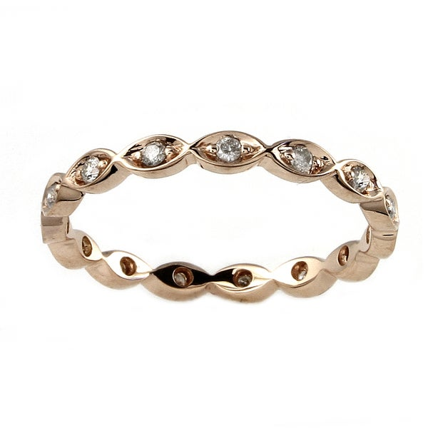 10k Rose Gold 1/5ct TDW Diamond Eternity Stackable Band Ring