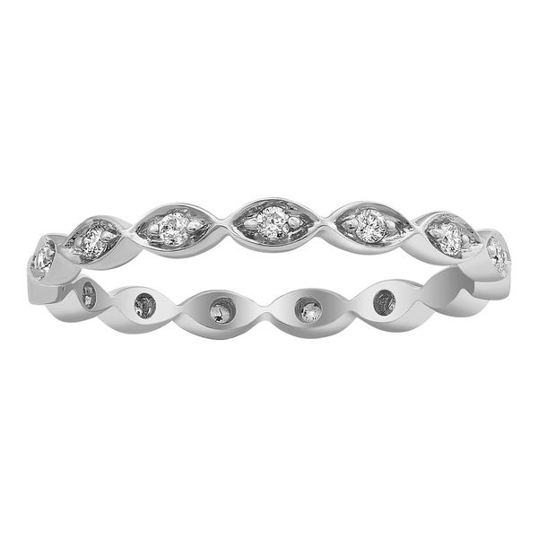 10k White Gold 1/5ct TDW Diamond Eternity Stackable Band Ring