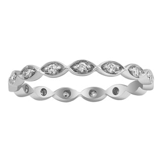 Beverly Hills Charm 10k White Gold 1/5ct TDW Diamond Eternity Stackable Band Ring