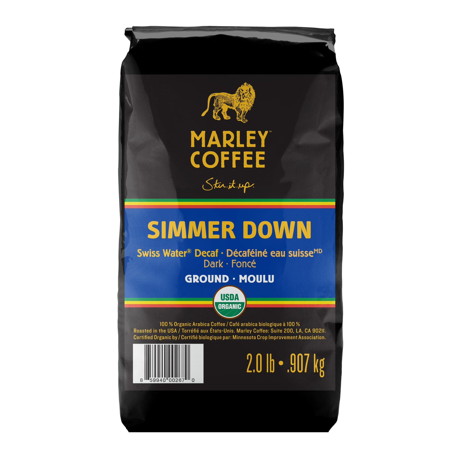 Marley Coffee Simmer Down Swiss Water Decaf Ground Coffee (2 Pounds)