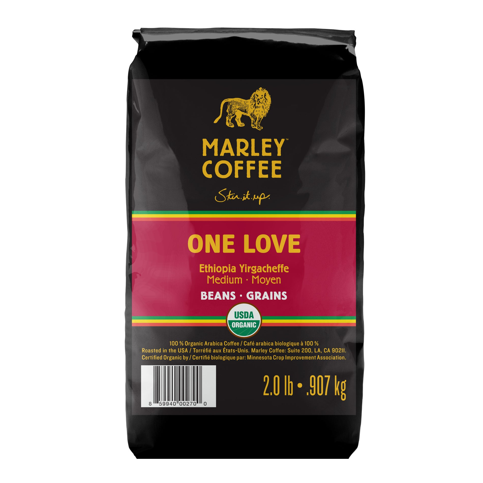 Marley Coffee One Love Ethiopia Whole Bean Coffee (2 Pounds)