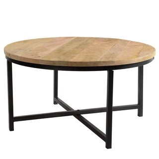 "CG Sparks Handmade Stamped Mango Round Wood 35"" Dia. Coffee Table (India)"