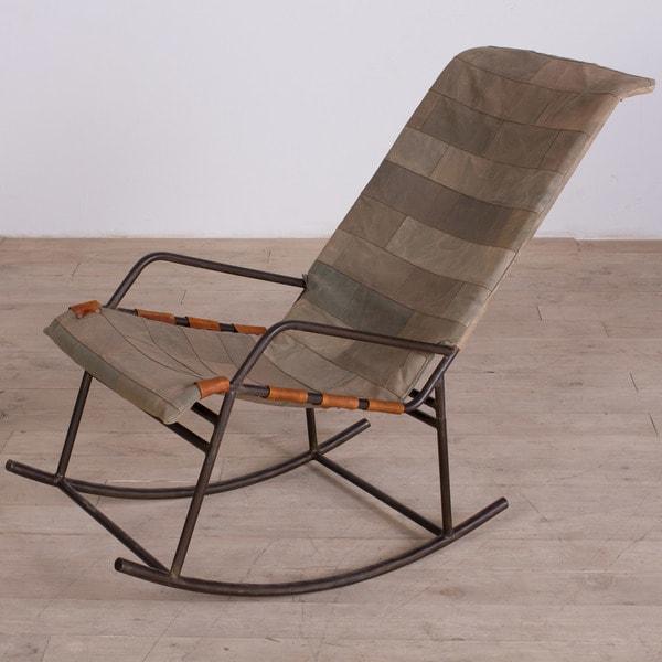 Delhi Reclaimed Canvas Rocking Chair (India)