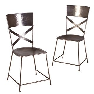 Handmade Set of Two Jabalpur Dining Chair Antique Nickel (India)