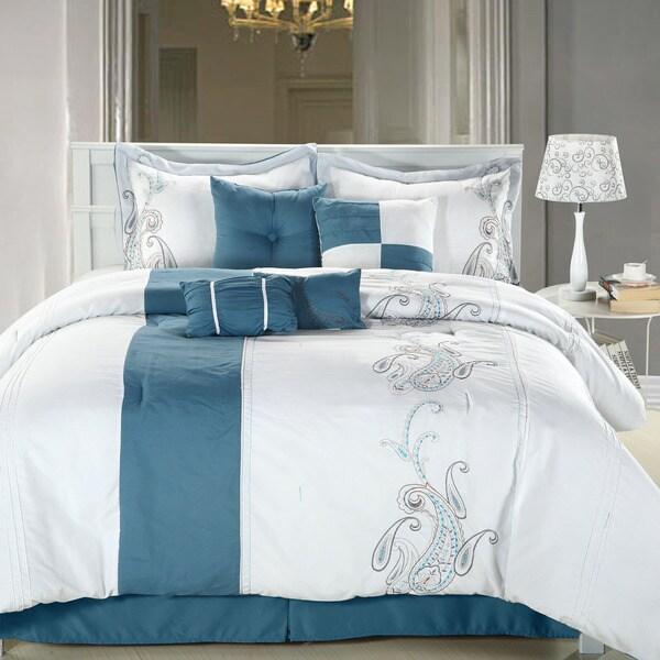 Ann Harbor 8-piece Blue/white Comforter Set