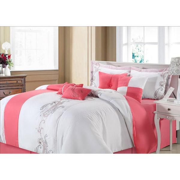 Ann Harbor 8-piece Pink/white Comforter Set