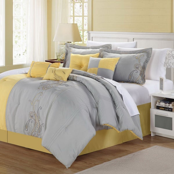 Shop Ann Harbor 8 Piece Yellow Grey Comforter Set Free
