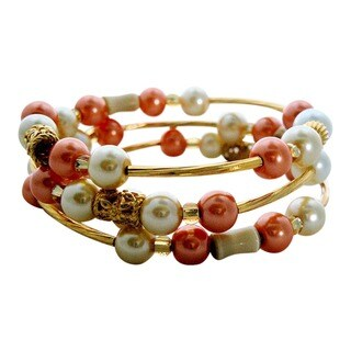 Handmade Cat's Eye and Pearl Wrap Bracelet