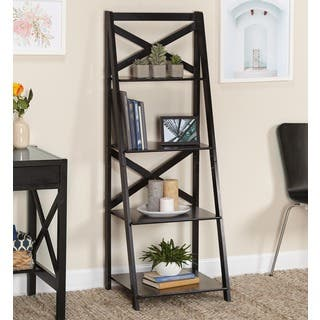 Simple Living Black Wood X-back 4-tier Ladder Shelf|https://ak1.ostkcdn.com/images/products/6710460/P14260987.jpg?impolicy=medium