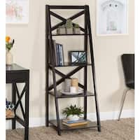 Simple Living Black Wood X-back 4-tier Ladder Shelf