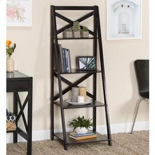 Simple Living Black Wood X-back 4-tier Ladder Shelf