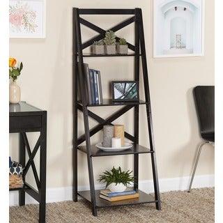 Simple Living Black Wood X Back 4 Tier Ladder Shelf