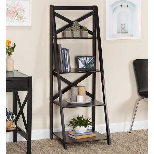 Shop Simple Living Black Wood X Back 4 Tier Ladder Shelf