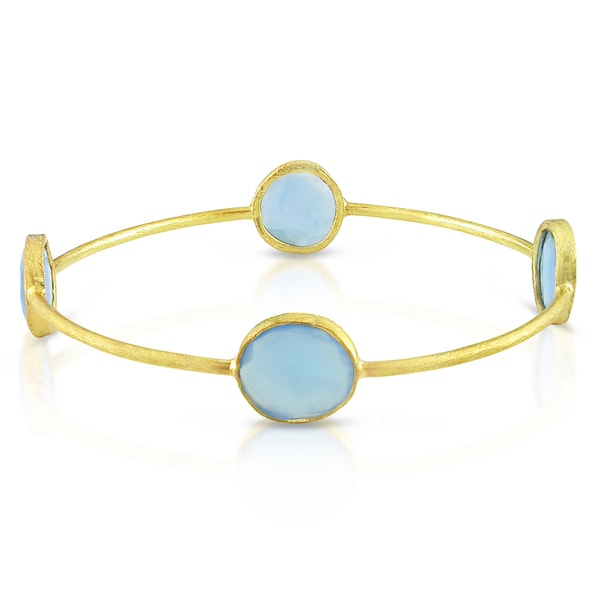 Miadora 22k Gold-plated Silver 16ct TGW Rose Quartz or Blue Onyx Bracelet