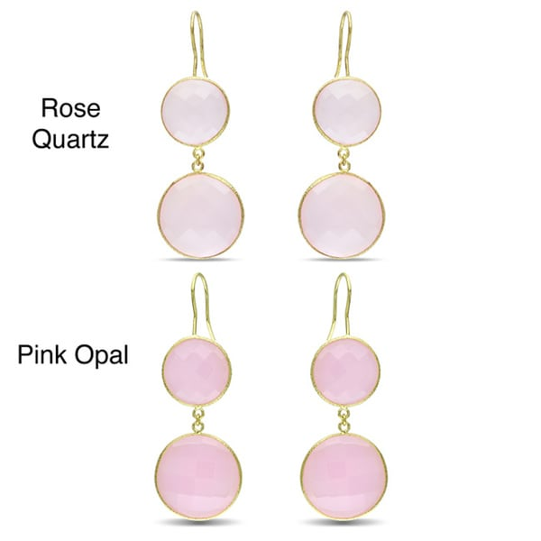 Miadora Goldtone Synthetic Rose Quartz or Pink Opal Dangle Earrings