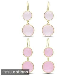 Miadora Goldtone Synthetic Rose Quartz or Pink Opal Dangle Earrings
