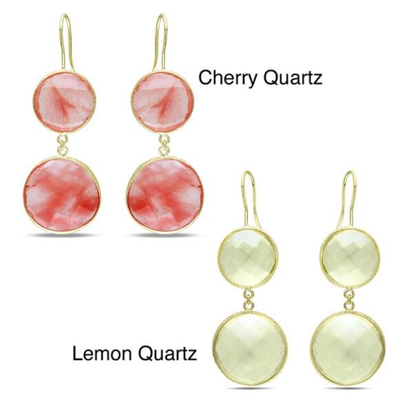 M by Miadora Goldtone 50ct TGW Synthetic Cherry or Lemon Quartz Dangle Earrings