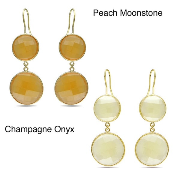 Miadora Goldtone Synthetic Moonstone or Champagne Onyx Dangle Earrings