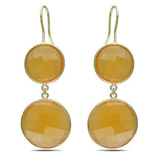 Miadora Goldtone Synthetic Moonstone or Champagne Onyx Dangle Earrings