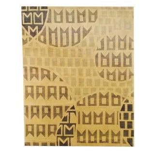 Herat Oriental Tibetan Hand-knotted Ivory/ Gray Wool Rug (8' x 10')