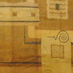 Tibetan Hand-knotted Brown/ Purple Wool Rug (8' x 10')
