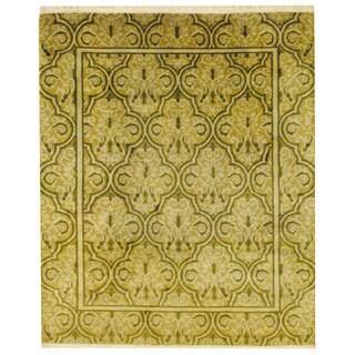 Herat Oriental Tibetan Hand-knotted Green/ Olive Wool Rug (8'1 x 9'9)