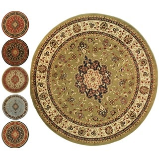 Medallion Traditional Persian Floral Border Round Rug (5'3 Round)