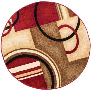 Arcs and Shapes Abstract Modern Circles and Boxes Red, Ivory, and Beige Area Rug (5'3 Round)