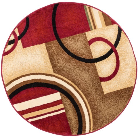 Well Woven Abstract Modern Circles and Boxes Red Ivory and Beige Round Area Rug - 5'3