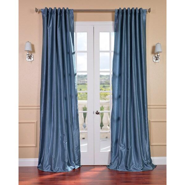 Exclusive Fabrics Provencial Blue Vintage Faux Dupioni Silk 84-inch Curtain Panel