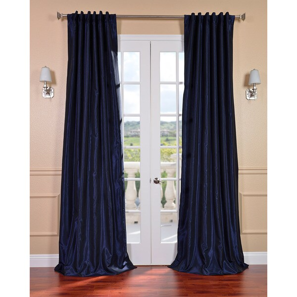 Exclusive Fabrics Lunar Blue Vintage Faux Dupioni Silk Curtain Panel
