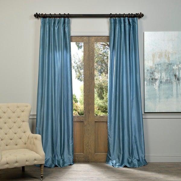 Exclusive Fabrics Provencial Blue Vintage Faux Dupioni Silk Curtain Panel