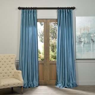 EFF Provencial Blue Vintage Faux Dupioni Silk Curtain Panel