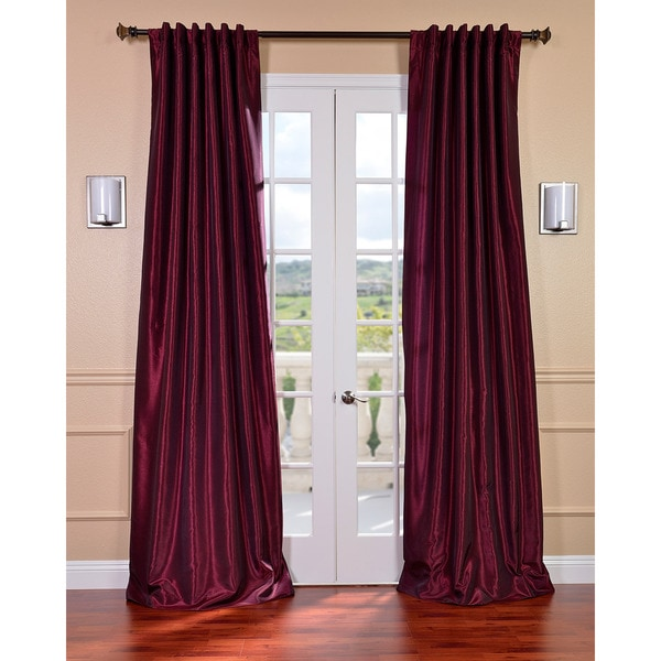 Exclusive Fabrics Mulberry Vintage Faux Dupioni Silk 108-inch Curtain Panel