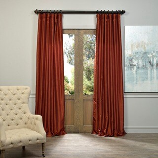 EFF Burnt Orange Vintage Faux Dupioni Silk Curtain Panel